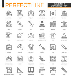Building and construction thin line web icons set vector
