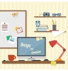 Business and home workplace vector image vector image