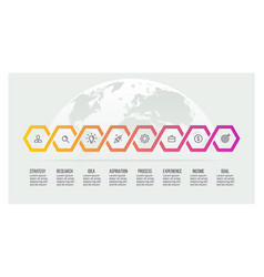 Business process timeline infographics with 8 vector