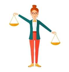 Business woman with scales vector image