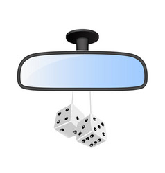 Car mirror with pair of white dices vector