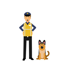 cartoon flat police officer in high visibility vector image