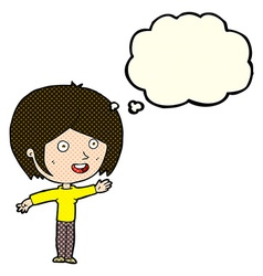 Cartoon happy girl waving with thought bubble vector