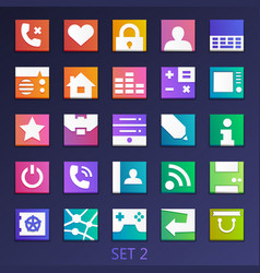 Colorful flat square icons-set 2 vector