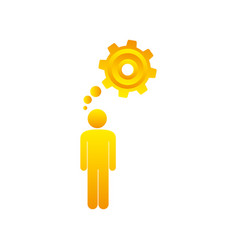 Colorful pictogram man thought in a pinion vector