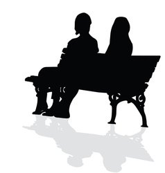 Couple sitting on a bench silhouette vector