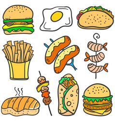 Doodle of food delicious collection vector