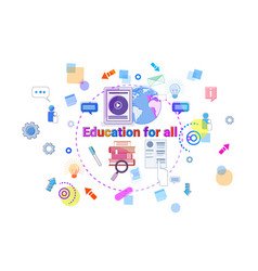 Education for all banner study online elearning vector