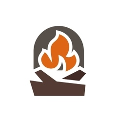 Fireplace abstract mark logo in minimalism vector