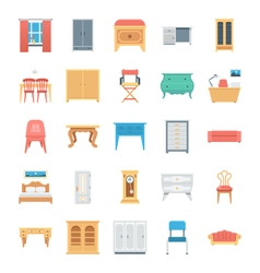 Furniture colored icons 8 vector