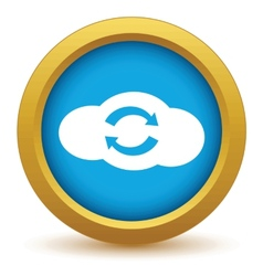 Gold reverse cloud icon vector