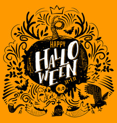 halloween lettering on yellow vector image vector image