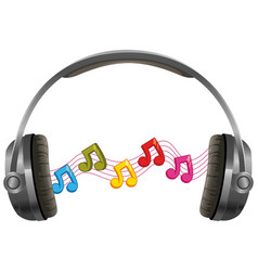 headphone with music notes on white background vector image vector image