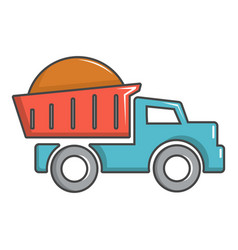 Heavy construction tipper icon cartoon style vector