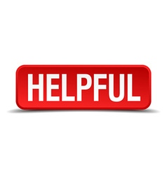 Helpful red 3d square button on white background vector