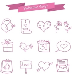 Icon of valentine day pink element vector