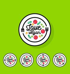 Logo love vegan cafe or restaurant emblem vector