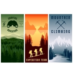 Mountain Expeditions Vertical Banners Set vector image vector image