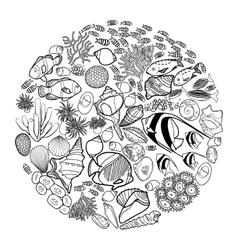 Ocean life in the circle shape vector