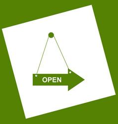 Open sign white icon vector