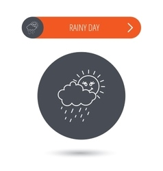 Rain and sun icon Water drops and cloud sign vector image