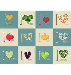 Set of i love vegetables eggplant and cucumber vector