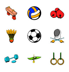 Sport competition icons set cartoon style vector