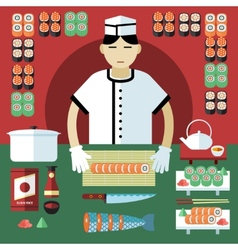Sushi master and japanese food stuff vector