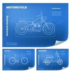 Technical wireframe with motorcycle vector image