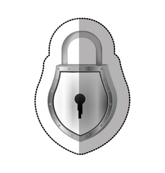 Sticker padlock with shield shape body and shackle vector