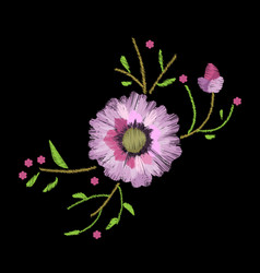 Embroidery stitches with gerbera and leaves vector