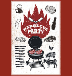 Barbecue party flyer template grill fire grilled vector