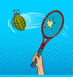 Tennis racket hits a grenade pop art style vector