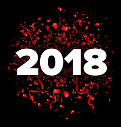 2018 happy new year red and white vector image