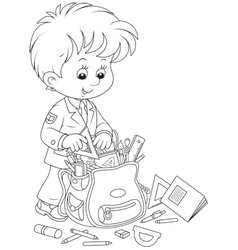 Schoolboy completing his schoolbag vector