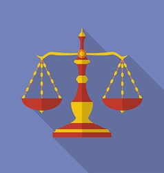 Old scales icon scales of justice modern flat vector