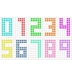 Set of pixel digit numbers vector