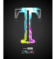 Design Light Effect Alphabet Letter T vector image