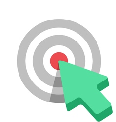 Flat target icon with green arrow cursor vector