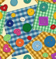 Seamless pattern of patchwork and buttons vector