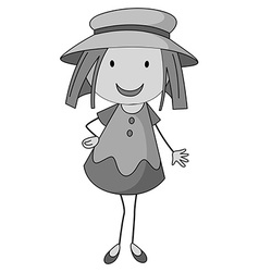 Little girl wearing a hat vector