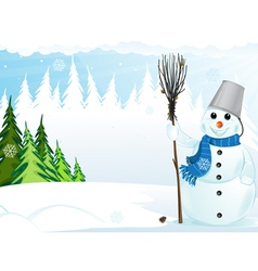 Snowman with broom and bucket vector