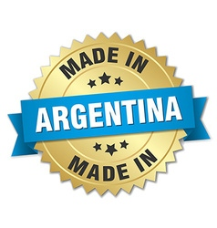 Made in argentina gold badge with blue ribbon vector