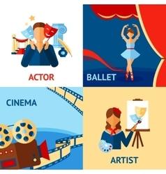 Art and culture design concept set vector