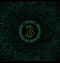 Bitcoin symbol binary code background vector