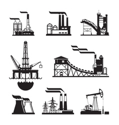 Black factory icons set on gray vector