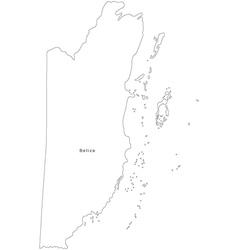 Black White Belize Outline Map vector image