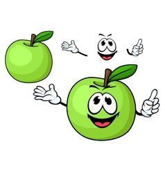 Cartoon juicy green apple fruit character vector