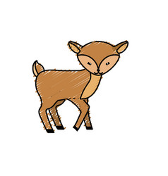 cute deer wild animal icon vector image