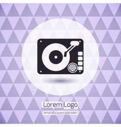 Disk jockey vinyl turntable logo vector